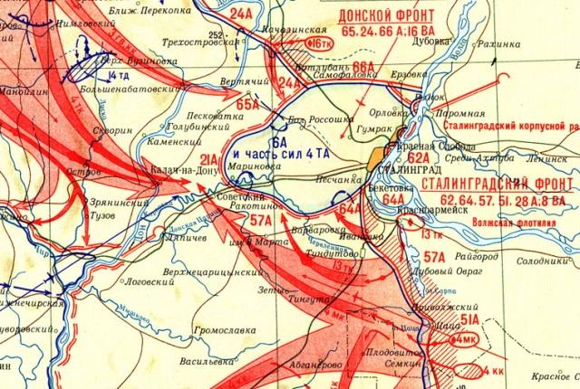 карта контрнаступления под сталенградом